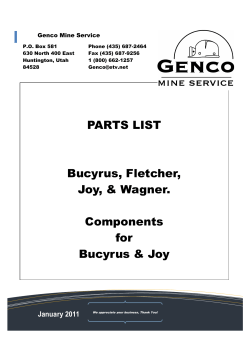 Parts List Cover Sheet - Genco Mine Service