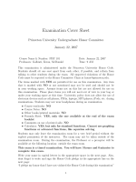 Examination Cover Sheet - Physics - Princeton University
