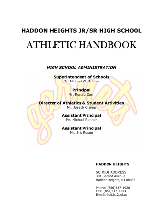 Athletic Handbook Cover Sheet - Haddon Heights Public Schools