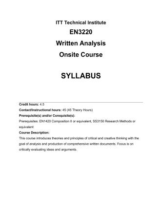 Curriculum Cover Sheet - ITT Composition