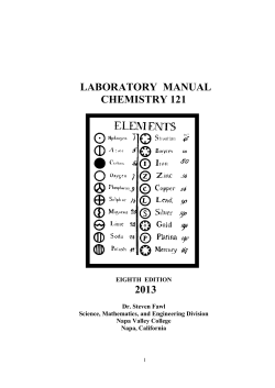 LABORATORY MANUAL CHEMISTRY 121 2013 - Napa Valley
