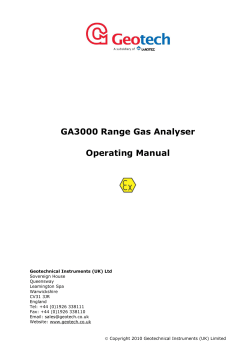 Gas Analyser Operating Manual - Geotechnical Instruments