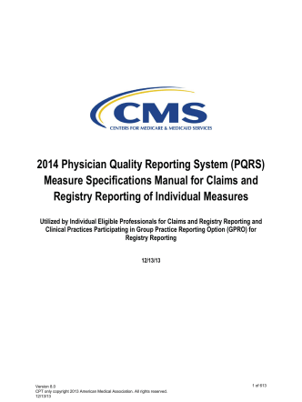 2014 Physician Quality Reporting System (PQRS) Measure