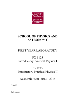 Year 1 Lab manual 2013 V1.1 - School of Physics and Astronomy