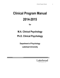 Clinical Program Manual 2014-2015 - Department of Psychology