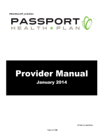 Provider Manual - January 2014 - Passport Health Plan