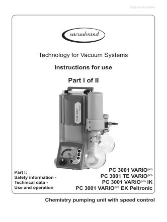 Chemistry Vacuum Pumping Unit PC 3001 VARIO - Manual