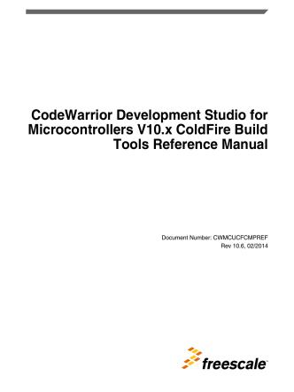 CodeWarrior Development Studio for Microcontrollers V10.x