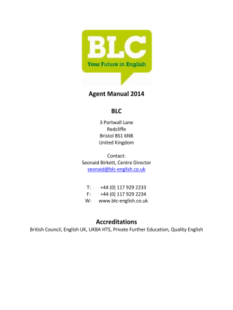 Agent Manual - Bristol Language Centre