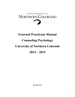 External Practicum Manual Counseling Psychology University of
