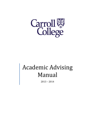 Academic Advising Manual - Carroll College