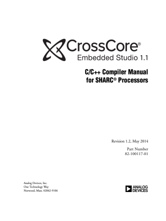 CrossCore Embedded Studio 1.0 C/C++ Compiler Manual for
