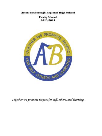 Acton-Boxborough Regional High School Faculty Manual 2013-2014