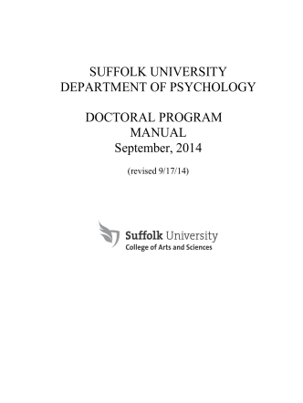 Department of Psychology Doctoral Program - Suffolk University