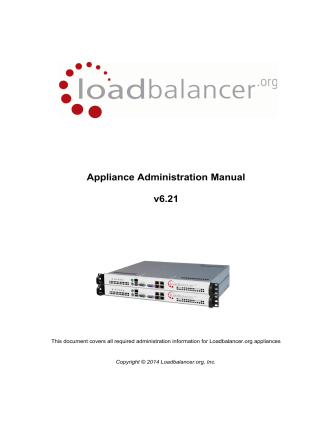 Appliance Administration Manual v6.21 - Loadbalancer.org