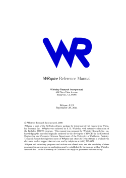 WRspice Reference Manual - Whiteley Research Inc.