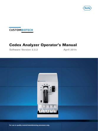 Cedex Analyzer Operators Manual - Roche