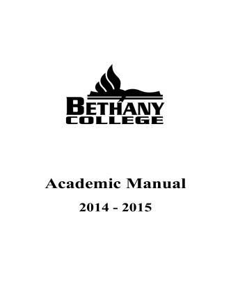 Academic Manual 2014-2015 - Bethany College