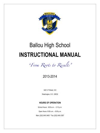 ! Ballou High School INSTRUCTIONAL MANUAL