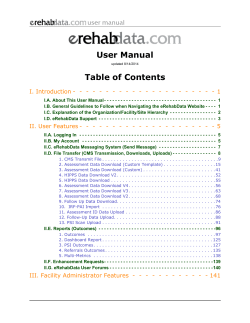 User Manual Table of Contents - eRehabData.com
