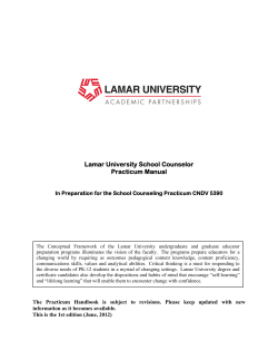 Lamar University School Counselor Practicum Manual