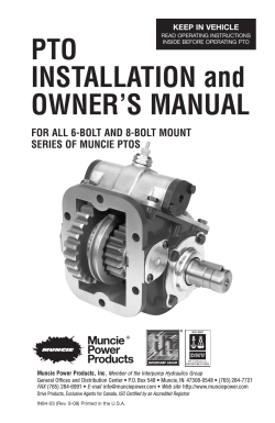 PTO INSTALLATION and OWNERS MANUAL - Muncie Power