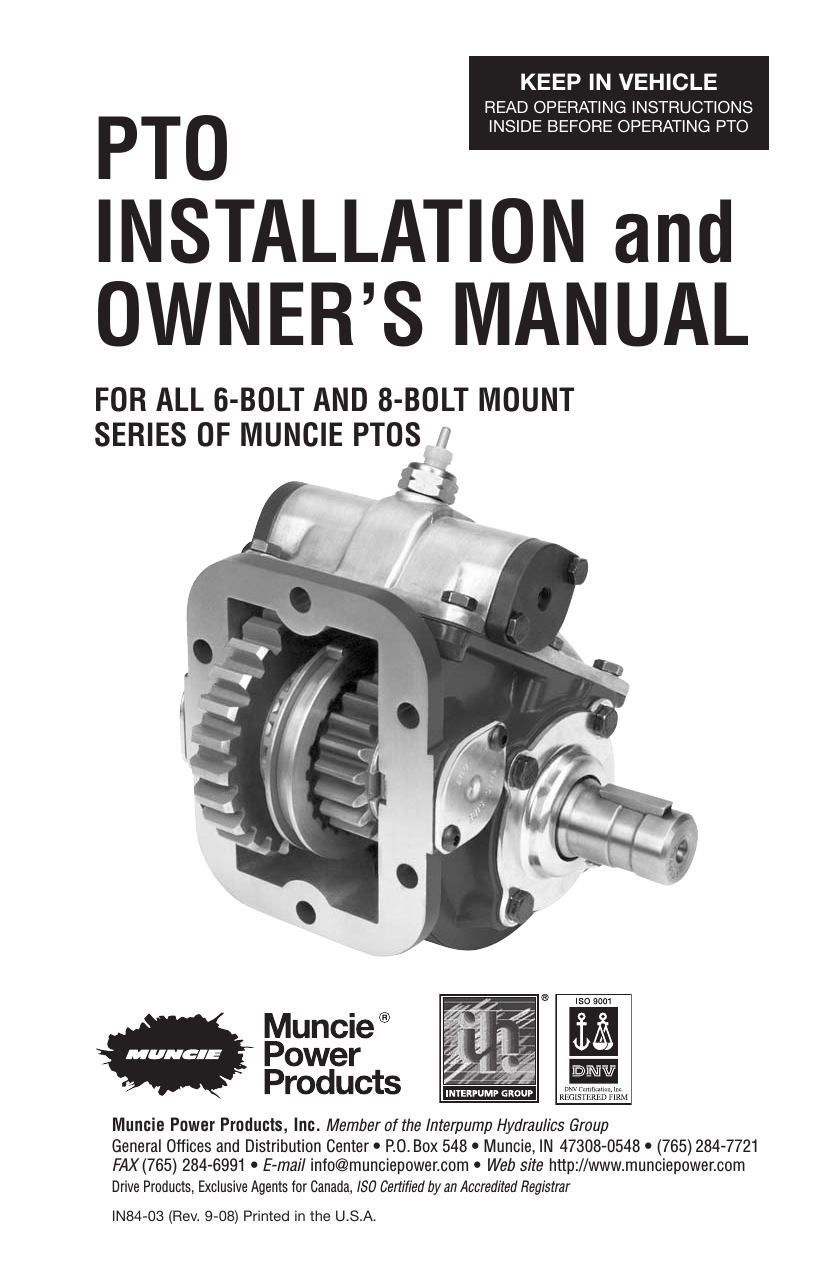 Pto Installation And Owners Manual Muncie Power 5 Pole Relay Wiring Diagram System