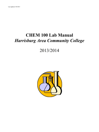 CHEM 100 Lab Manual Harrisburg Area Community College 2013