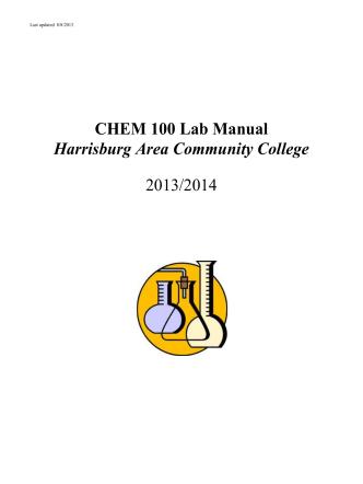 CHEM 100 Lab Manual Harrisburg Area Community College 2013