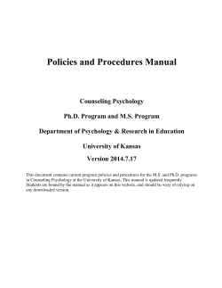 CPSY Policies and Procedures Manual 2014.7.17 - Department of
