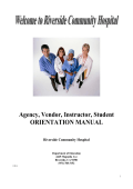 RCH Student Orientation Manual - School of Nursing