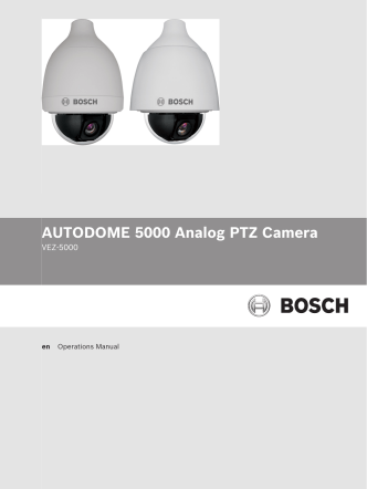 AUTODOME 5000 Operation Manual - Bosch Security Systems