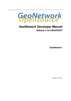 GeoNetwork Developer Manual - GeoNetwork opensource