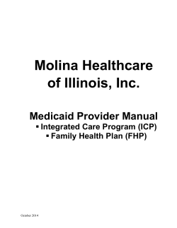 Provider Manual (ICP and FHP) - Molina Healthcare