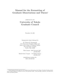 Manual for the Formatting of Graduate Dissertations and Theses