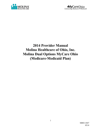 2014 Provider Manual Molina Healthcare of Ohio, Inc. Molina Dual