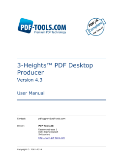 3-Heights™ PDF Dekstop Producer, User Manual Tools AG