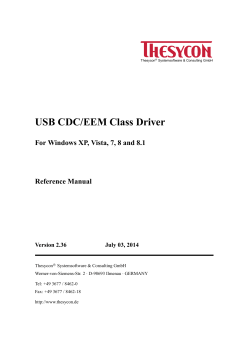 USB CDC/EEM Class Driver Reference Manual - Thesycon