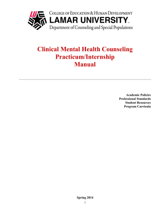 Clinical Mental Health Counseling Practicum/Internship Manual