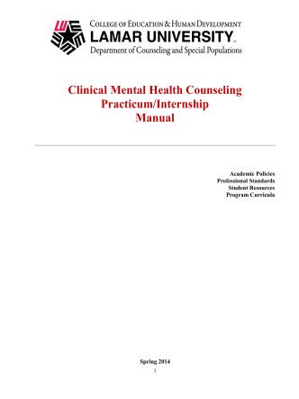 Clinical Mental Health Counseling Practicum/Internship Manual