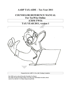 AARP TAX-AIDE – Tax Year 2011 COUNSELOR REFERENCE
