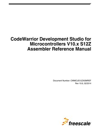 CodeWarrior Development Studio for Microcontrollers V10.x S12Z