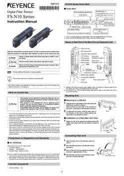 Digital Fiber Sensor FS-N10 Series Instruction Manual 96M11513