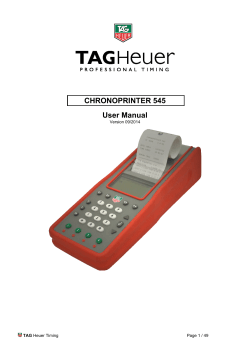 CHRONOPRINTER 545 User Manual - TAG Heuer Timing Systems