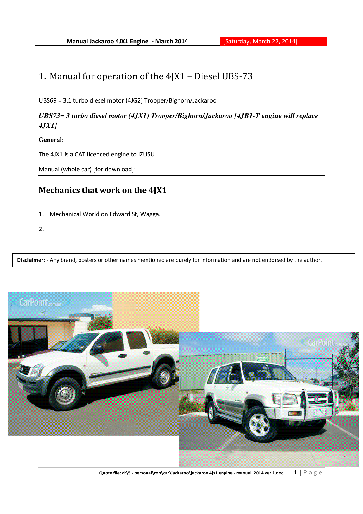 Manual for operation of the 4JX1 – Diesel UBS-73