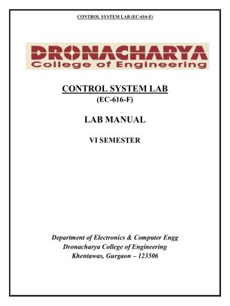CONTROL SYSTEM LAB LAB MANUAL - Dronacharya College of
