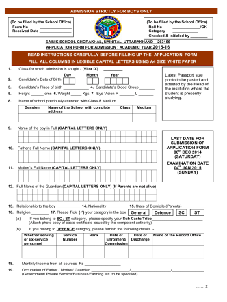 Application Form for the session 2015-16 - Sainik School Ghorakhal