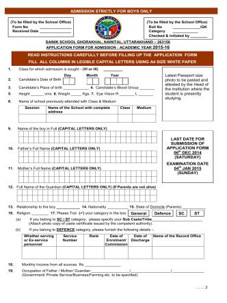 Application Form for the session 2015-16 - Sainik School Ghorakhal