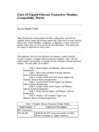 10-Gigabit Ethernet Transceiver Modules Compatibility Matrix - Cisco