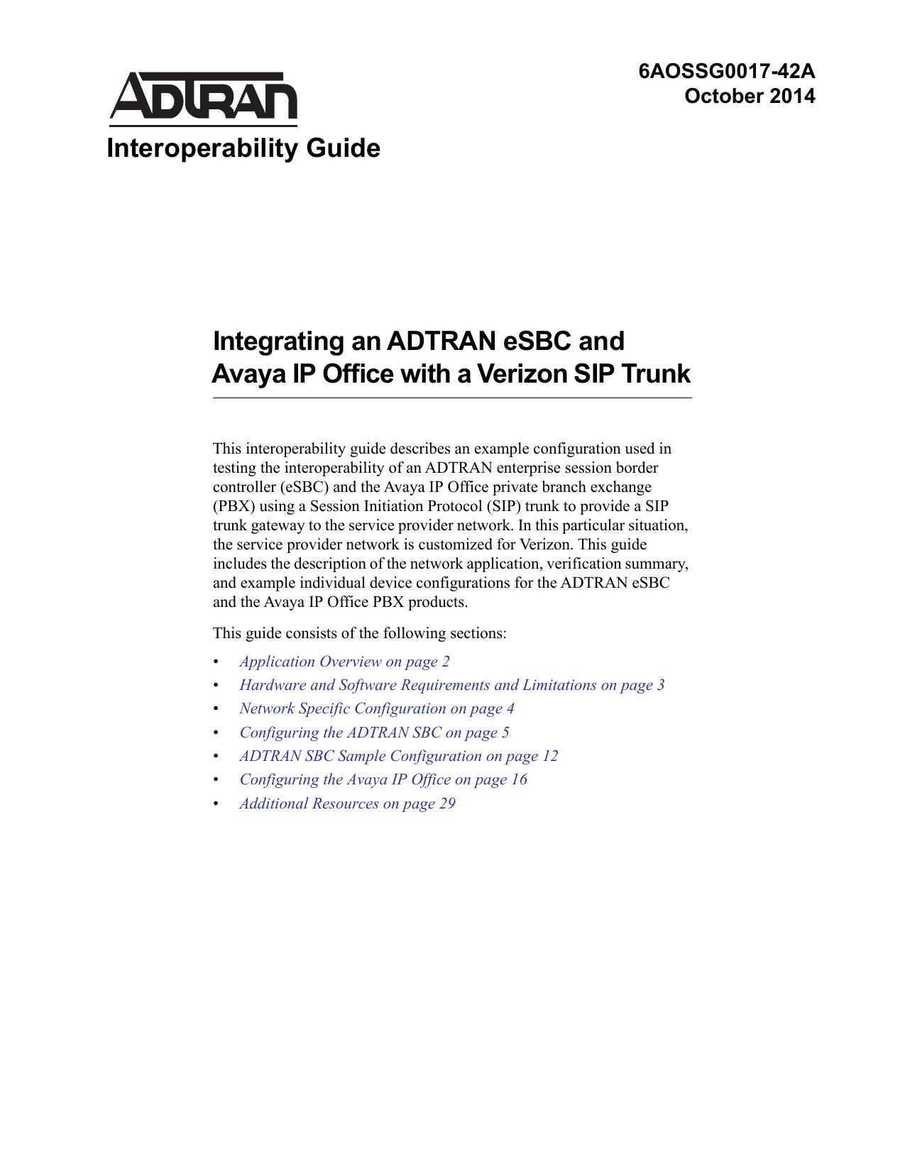ADTRAN SBC and ShoreTel SIP Trunk Interoperability - ADTRAN